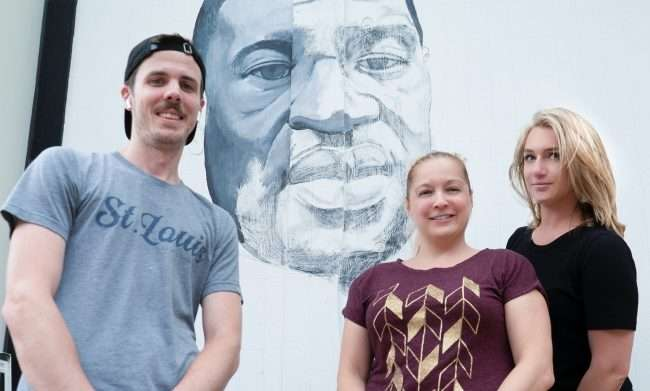 Ben Angelly, Jessica Bueler, Allison Bamberge at George Floyd Portrait, University City. credit craig currie