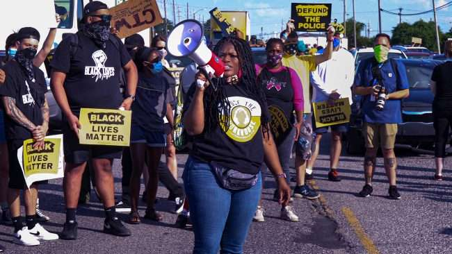 Cori Bush protesting for equality at Workhouse Jail St Louis. Credit craig currie