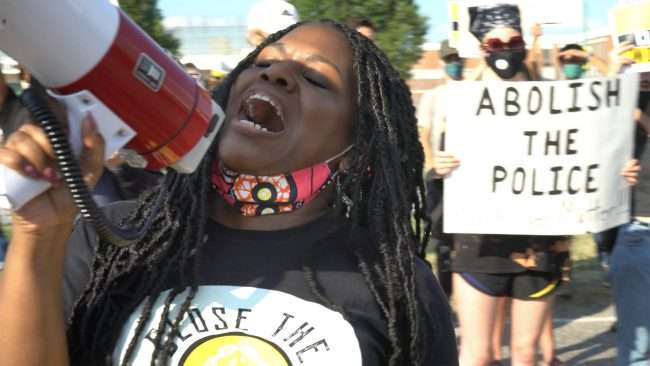 Cori Bush Protests at Workhouse Jail St Louis. Credit craig currie