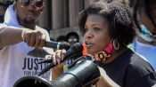 Cori Bush speaks against police brutality at the steps of City Hall in Downtown St. Louis.