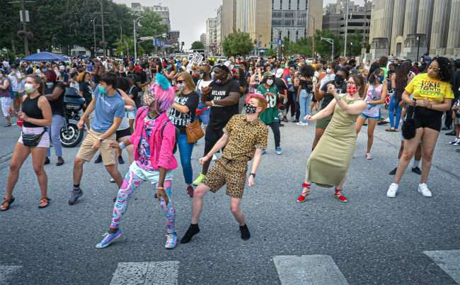 The Juneteenth celebration had hundreds of dancers on Tucker Blvd. in front of St. Louis City Hall. credit craig currie