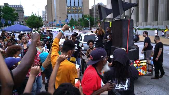 Juneteenth: Speakers on flatbed at St. Louis City Hall. credit craig currie