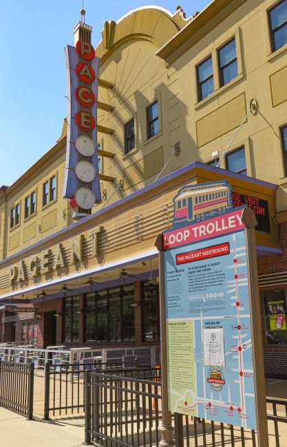 Loop Trolley signage in front of The Pageant concert venue. (credit craig currie June 1, 2020)
