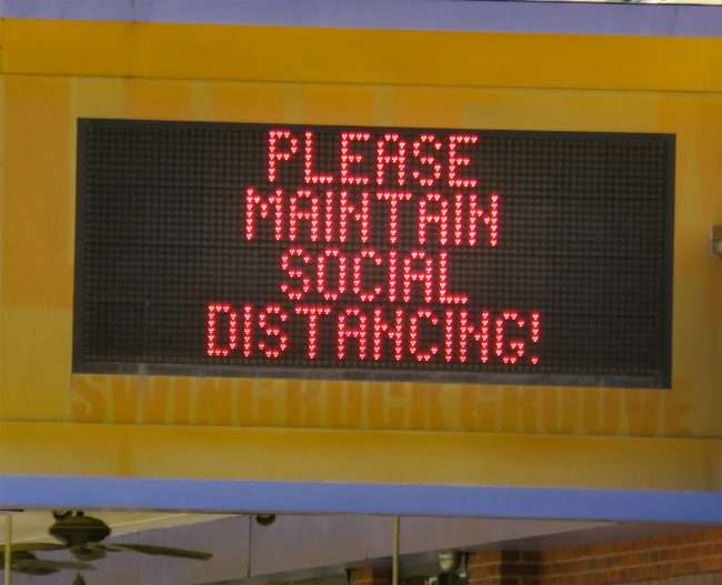 "Pageant Concert venue displays on marquee ""Please Maintain Social Distancing"" during Pandemic. (credit craig currie June 1, 2020)"
