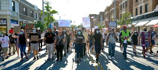 Protest Against Police Violence and social inequality in University City. credit craig currie