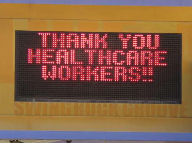 "Pageant Concert venue displays on marquee ""Thank You Healthcare Workers"" during Pandemic. (credit craig currie June 1, 2020)"