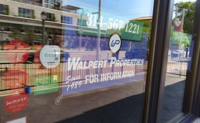 Walpert Properties managing space where TAVOLO V once resided on Delmar Loop. (photo craig currie June 1, 2020.