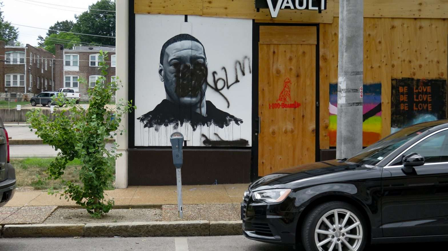 George Floyd portrait vandalized in University City St. Louis