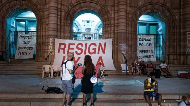 Occupy St. Louis City Hall demands resignation of Mayor Lyda Krewson. credit craig currie
