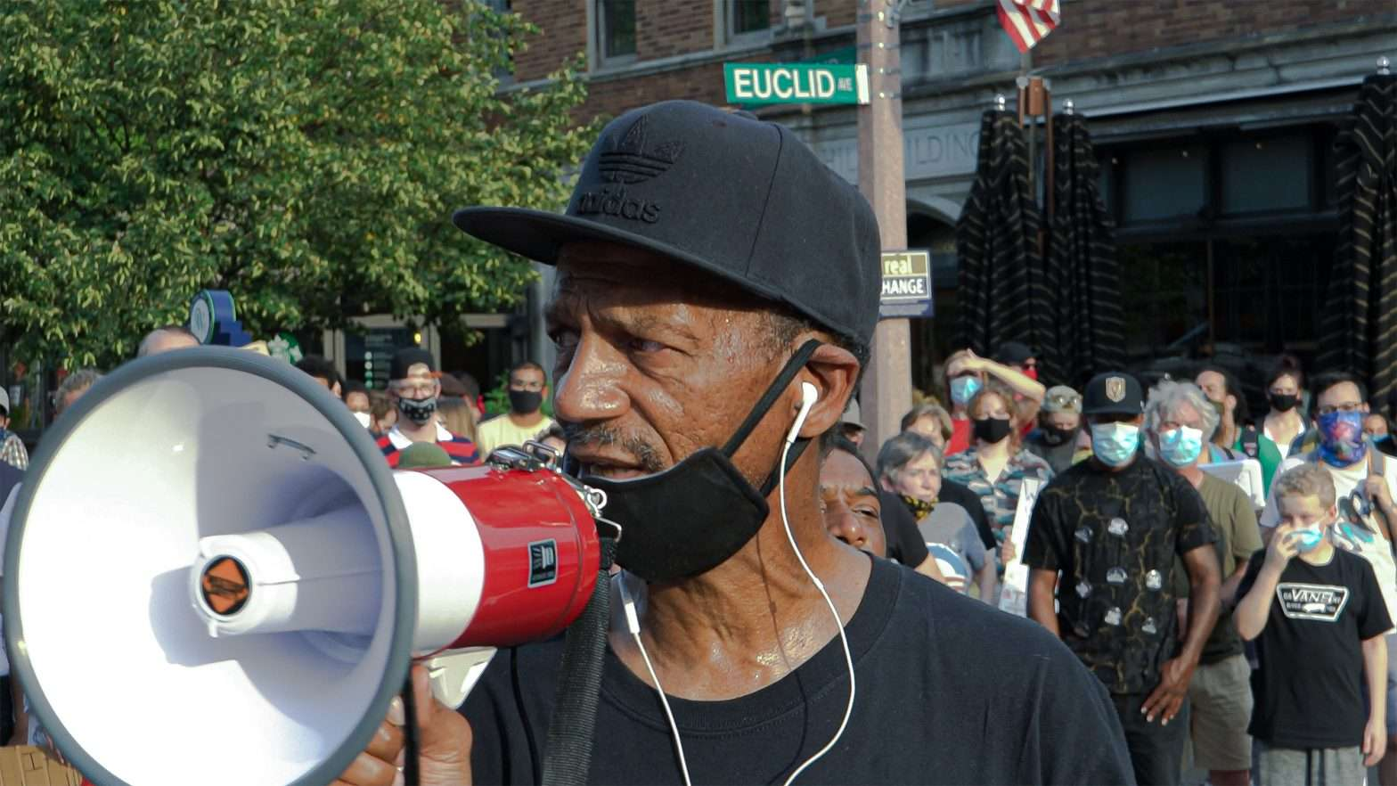 Reverend Darryl Gray protest with ExpectUs in the Central West End neighborhood in St Louis.