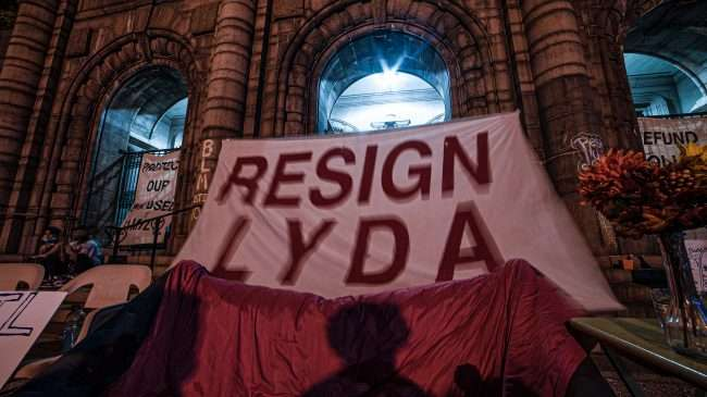 SIgn Resign Lyda Krewson on St. Louis City Hall