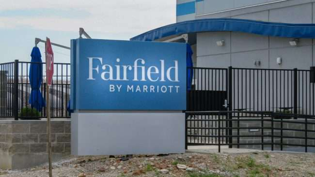 Signage for Fairfield by Marriott Market Street, Downtown St. Louis. credit craig currie