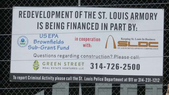 Redevelopment of the St. Louis Armory is being financed in part by US EPA Brownfields Sup-Grant Fund in cooperation with: Keeping St. Louis In Business Saint Louis Development Corporation.