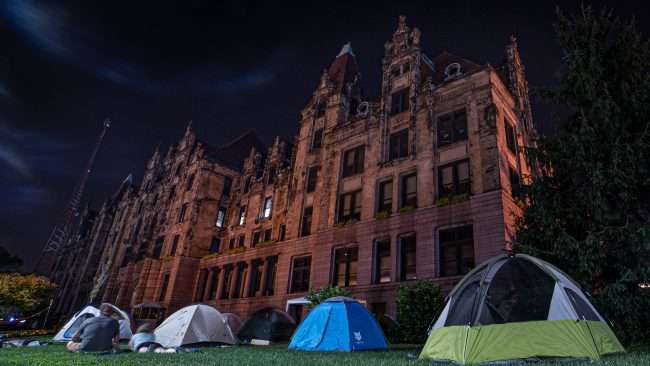 Tents on grass during Occupy St. Louis City Hall. credit craig currie