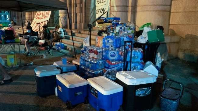 Water Coolers at Occupy St. Louis City Hall.