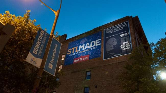 STL MADE and Keith Moyer signage on building at Tucker Blvd. and Washington Ave. in Downtown St. Louis. (Aug 28, 2020)
