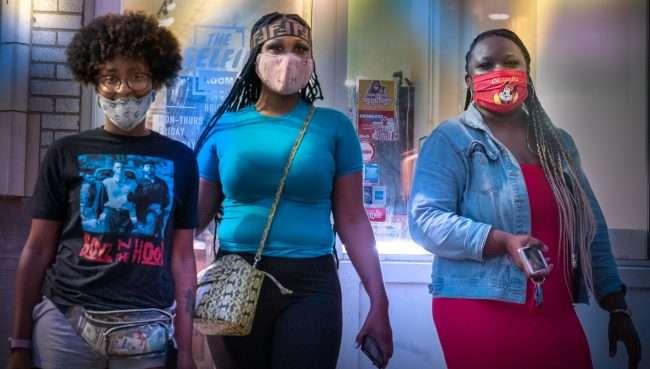 Three Ladies leaving The Selfie Room on Washington Avenue in Downtown St. Louis. (Aug. 28, 2020)