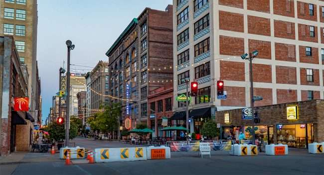 Washington Avenue Entertainment District features dining in the street due to street being blocked off with barricades due to late-night racing in Downtown St. Louis. (Aug. 28, 2020)
