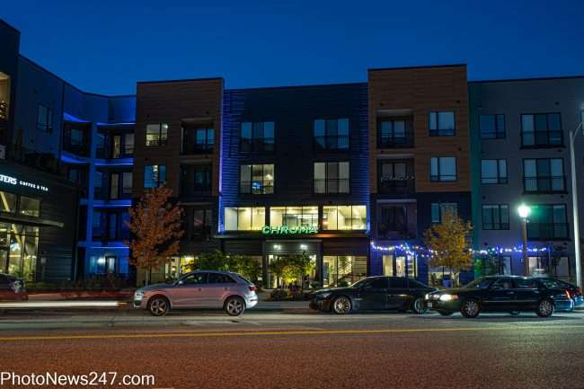 Chroma STL Luxury Apartments sign changes to green. credit photonews247.com