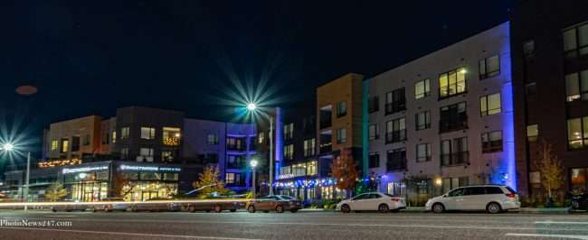 Lighting effects on Chroma STL Apartments in The Grove. credit photonews247.com