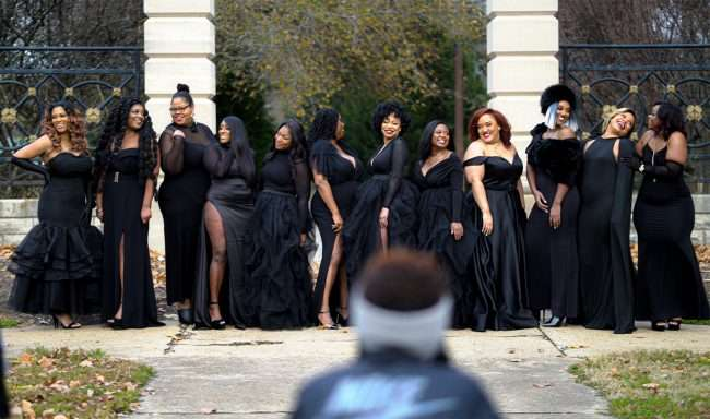 Black female entrepreneurs posing at The STL Collective Photoshoot 2020 coached by Chi The Model. (screen grab credit Craig Currie)