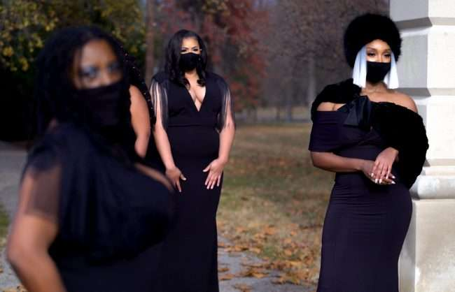 L to R Unknown, Lauren Spearman, Ashleigh Christian Bolar during The STL Collective Photoshoot 2020 at Tower Grove Park. (credit craig currie)