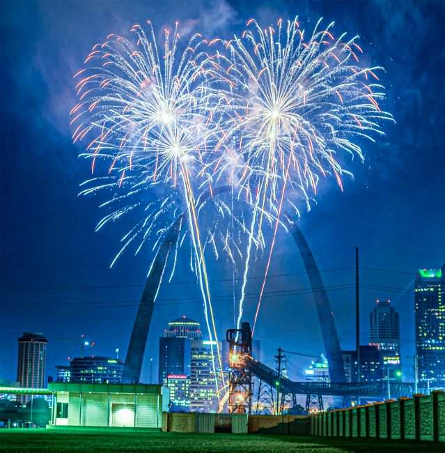 Fair St. Louis Arch Fireworks from Mississippi River Overlook.