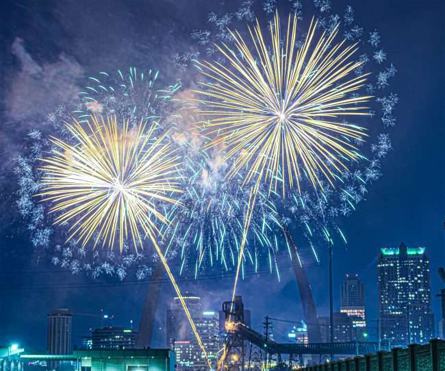 Virtual Fireworks for New Years Eve with Gateway Arch in view in St Louis.