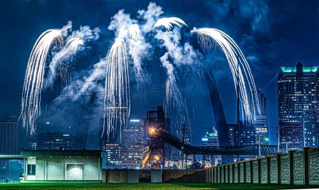 Fireworks with St. Louis Gateway Arch in view from Malcolm Memorial Park.