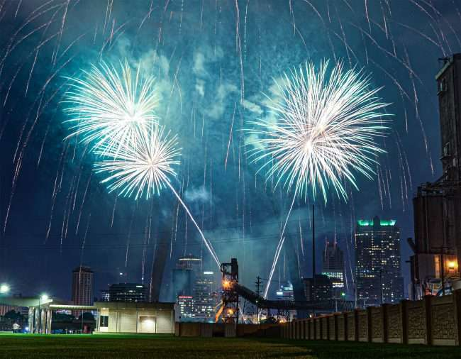 Fireworks at St Louis Arch from Malcolm Memorial Park.