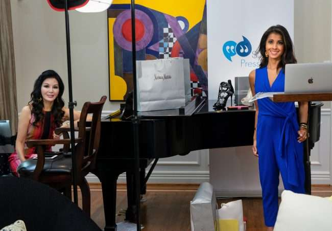 Miran Halen and Huda Jasmine on set during Beauty Buzz by STL Press Club and Neiman Marcus. credit craig currie