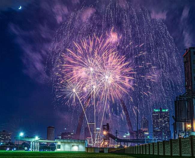 Virtual New Years Eve Fireworks near St Louis Gateway Arch