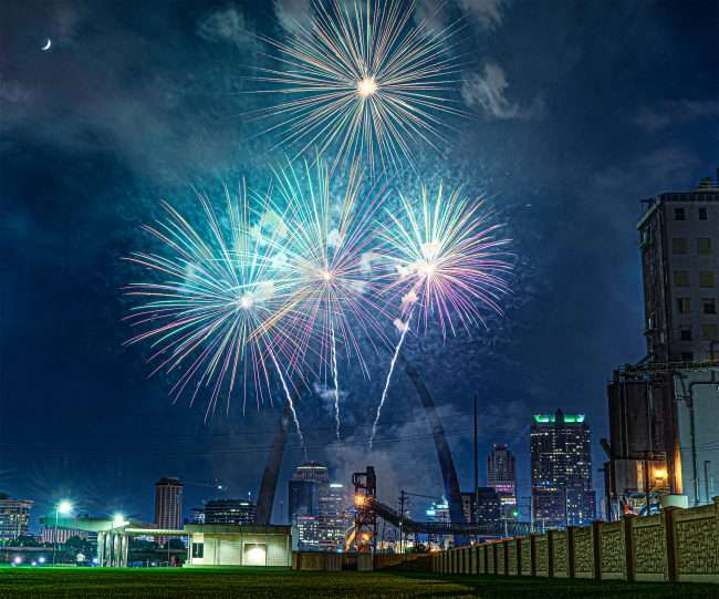 Virtual New Years Eve Fireworks near St Louis Gateway Arch from Malcolm Memorial Park.