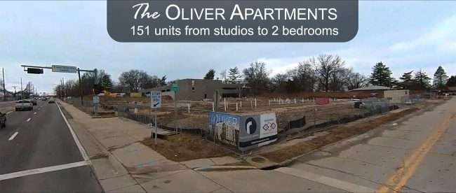 Oliver Apartments construction site on Jan. 2021 in Olivette, MO. credit craig currie