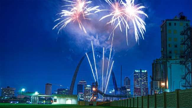 St Louis Arch Fireworks from Malcolm W. Martin Memorial Park.