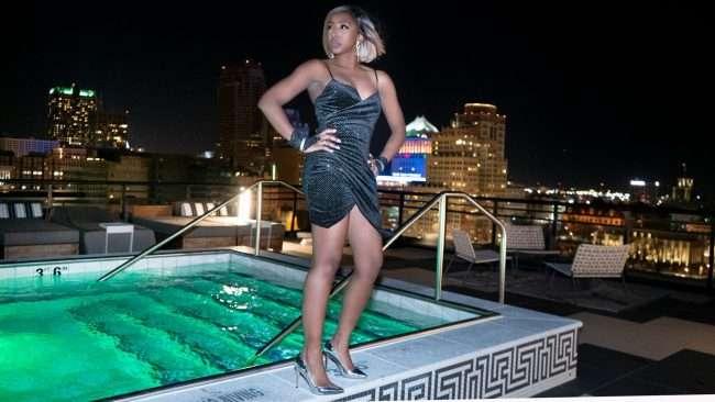 Terresa at pool at The Last Hotel