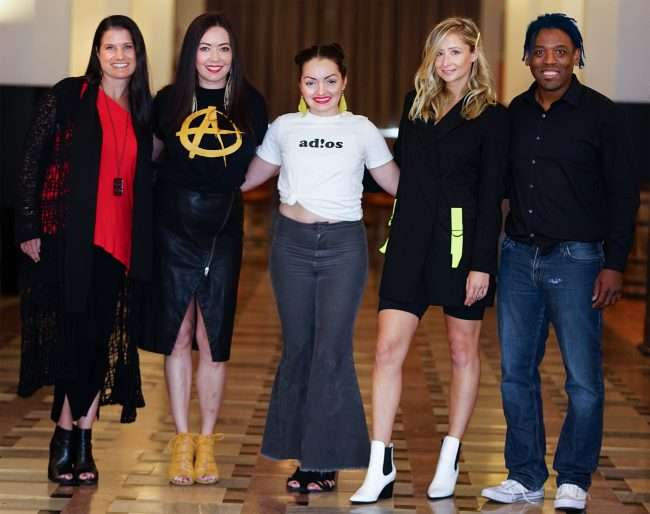 Audra Harrold, Barbara Boulton, Amanda Casandra, Courtney Tharpe, Dwight Carter in the former International Shoe Company building that's now The Last Hotel in St. Louis. credit craig currie