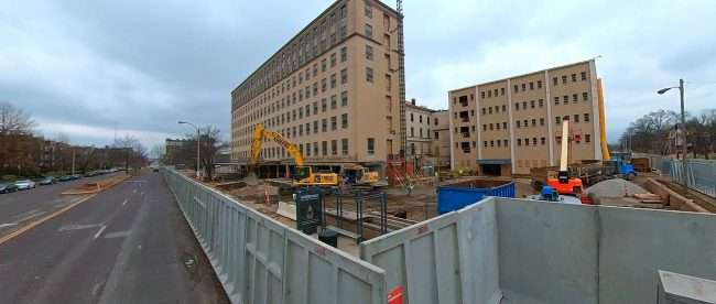 St. Luke's building being renovated into Delmar Divine. Construction by Claycorp filmed Jan 26, 2021. credit craig currie