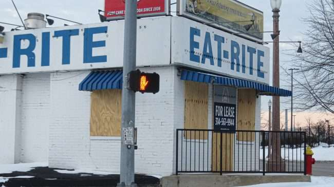 Eat Rite Diner building for Leasing in Downtown St. Louis in Feb. 2021. credit craig currie