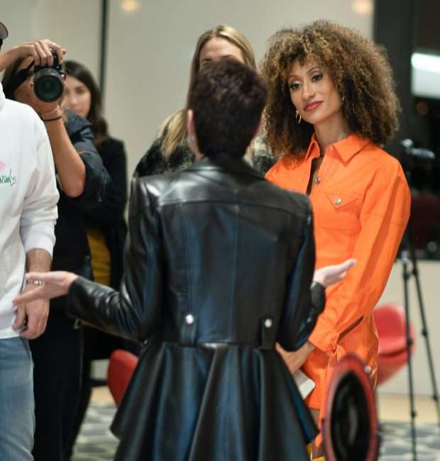 Elaine Welterothat (R) with Susan Sherman (C) in black leather coat at Saint Louis Fashion Fund. credit craig currie