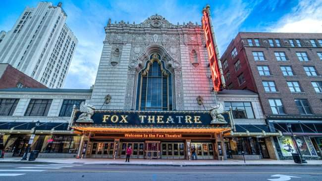 Fox Theater marquee on Grand Blvd in St. Louis. credit craig currie