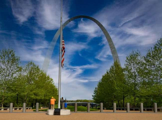Flag half staff at Gateway Arch in St. Louis due to mass shootings in the US. April 2021 credit craig currie