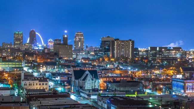 Grand Center Arts District in St. Louis from historic Missouri Theatre. credit craig currie