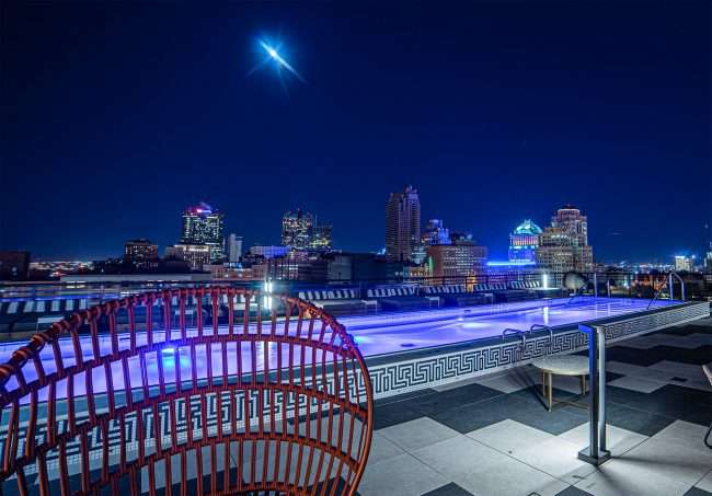 Pool on rooftop at The Last Hotel STL. credit craig currie