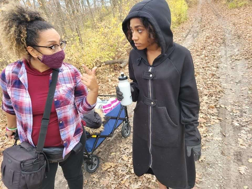 (Left to Right) Producer Jana M. Gamble dropping gems on actress Aliyah Muhammad before her shooting her scene for a proof of concept on November 29th, 2020. Photo credit: Monica R. Butler