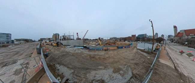 Panorama of Saint Louis MLS Soccer Stadium construction from Market Street on Jan. 17, 2021. credit craig currie