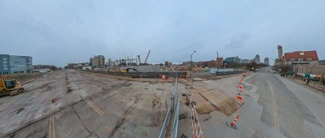 Soccer Stadium construction in St. Louis from Market Street on July 17, 2021. credit craig currie
