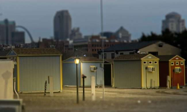 Tiny Homes Community Village for Homeless Jefferson and MLK St. Louis. credit craig currie