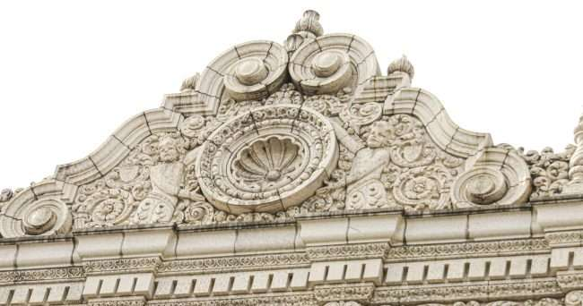 Decorative Architecture on Fox Theatre building on top on Feb. 2021. credit craig currie