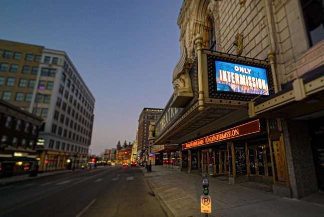 Fox Theatre Only Intermission on marquee in Grand Center during pandemic in Feb. 2021. credit craig currie